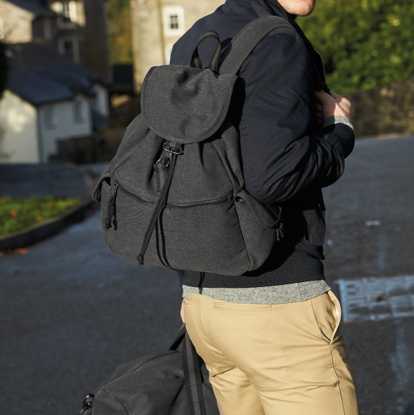 Canvas Backpack Rucksack - Black